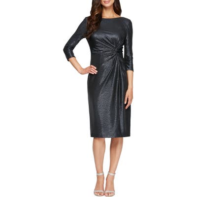 Petite Alex Evenings Knot Metallic Cocktail Dress, Blue