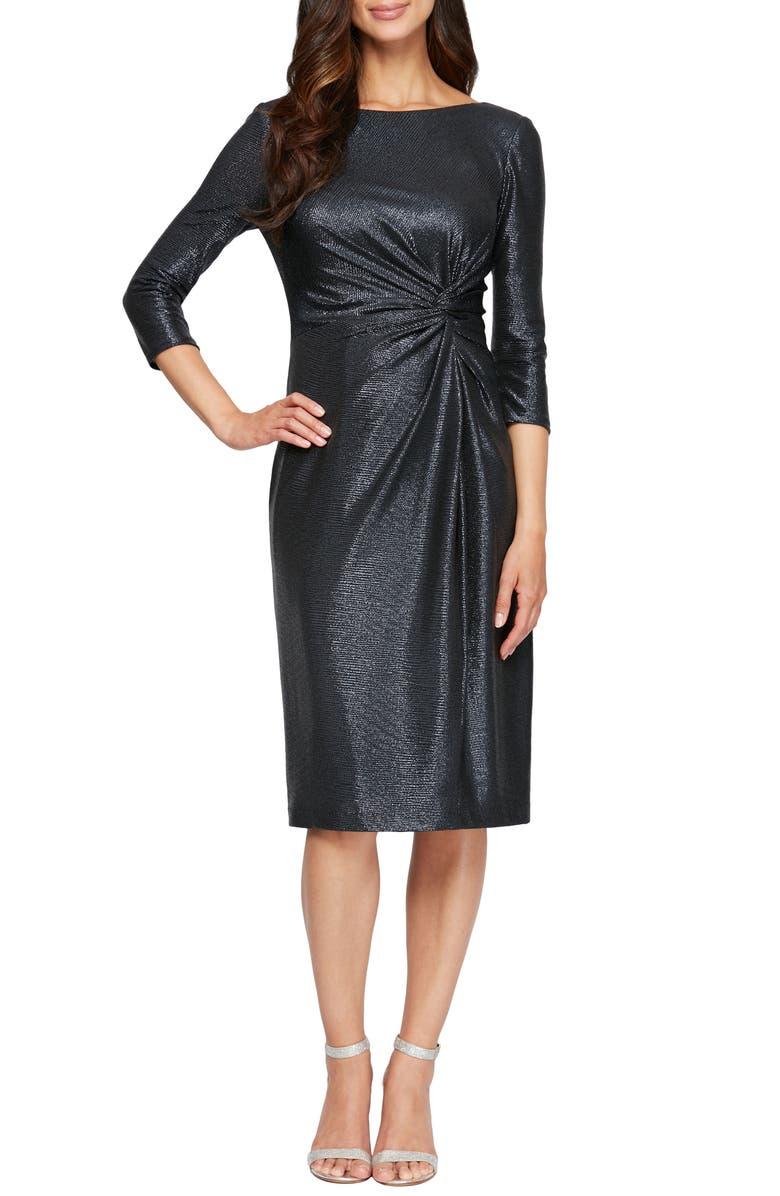 ALEX EVENINGS Knot Metallic Cocktail Dress, Main, color, NAVY