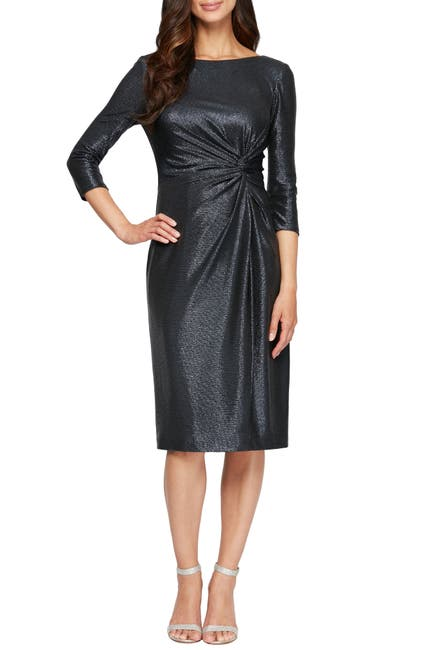 Image of Alex Evenings Knot Front Scoop Neck Sheath Dress