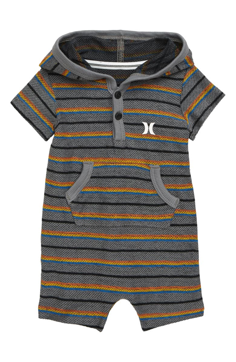 HURLEY Serape Hooded Romper, Main, color, CARBON HEATHER