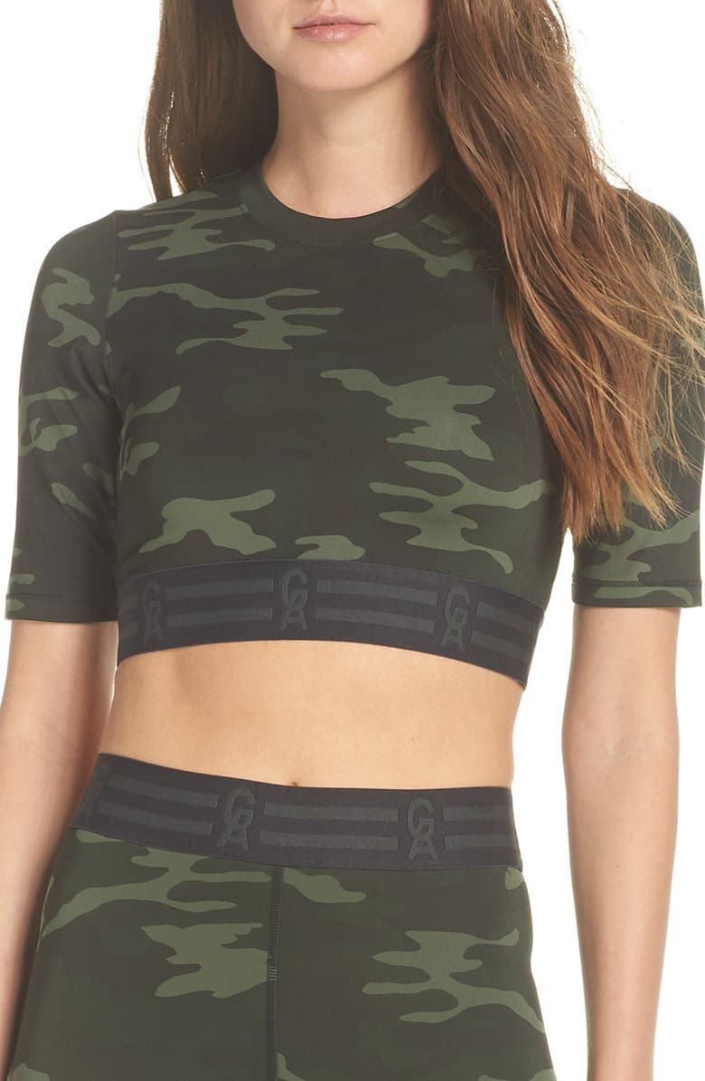 GOOD AMERICAN Icon Crop Top, Main, color, CAMO001