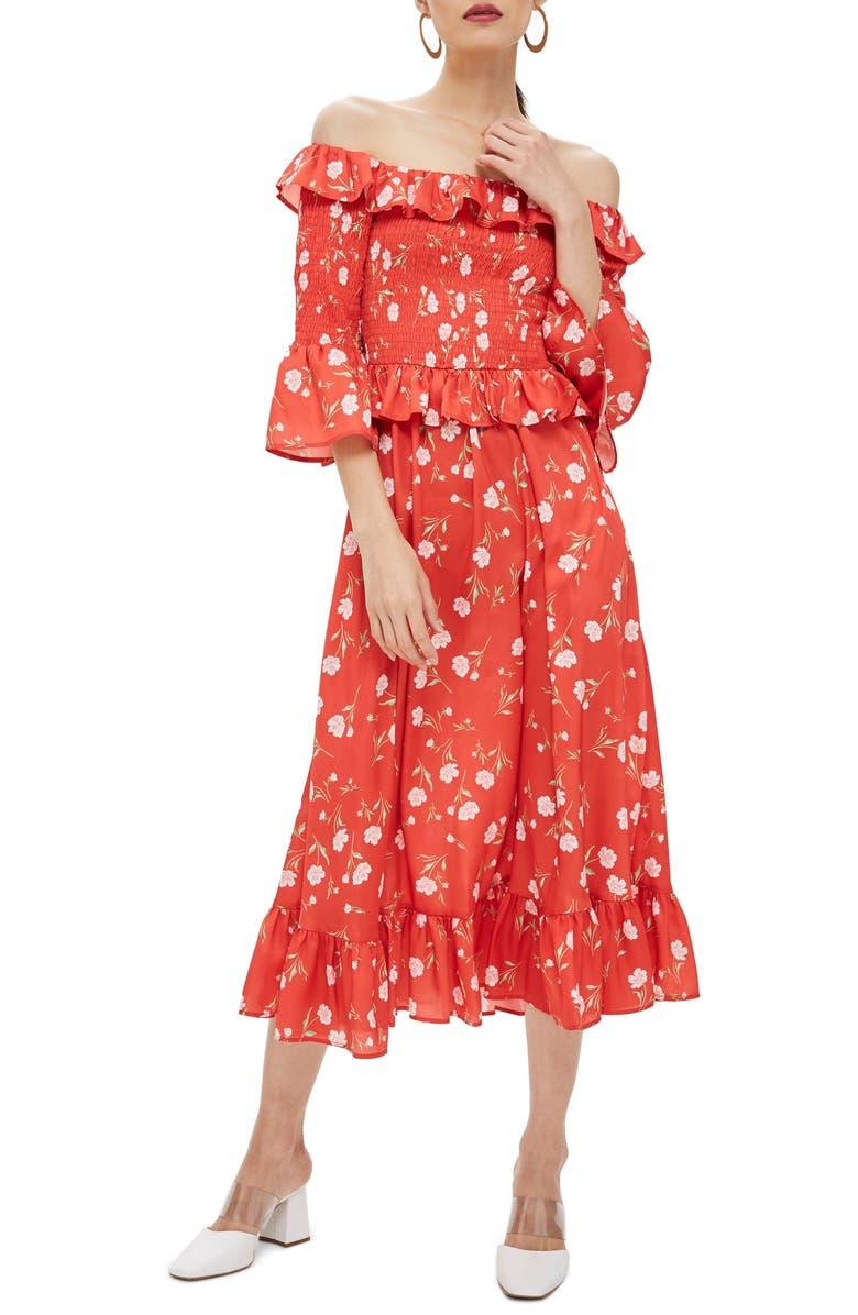 8ee3970c5813 Topshop Shirred Ruffle Midi Dress | Nordstrom