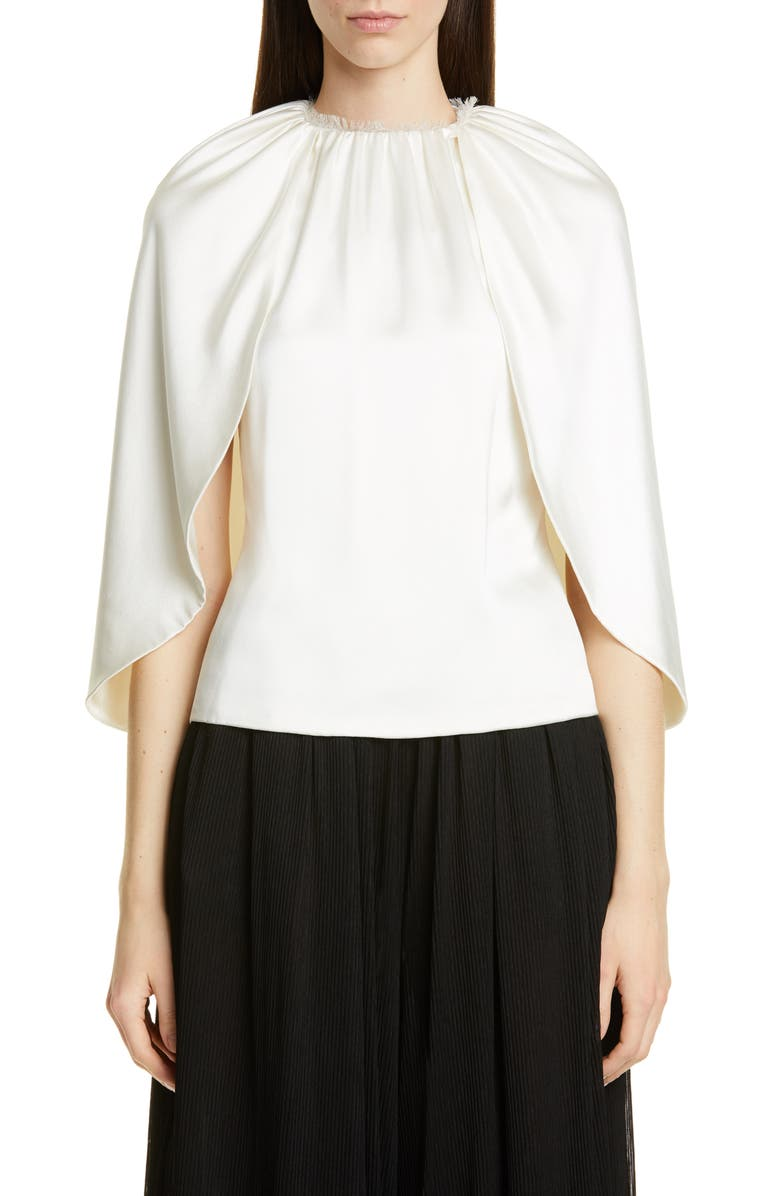 BRANDON MAXWELL Silk Charmeuse Angel Top, Main, color, IVORY