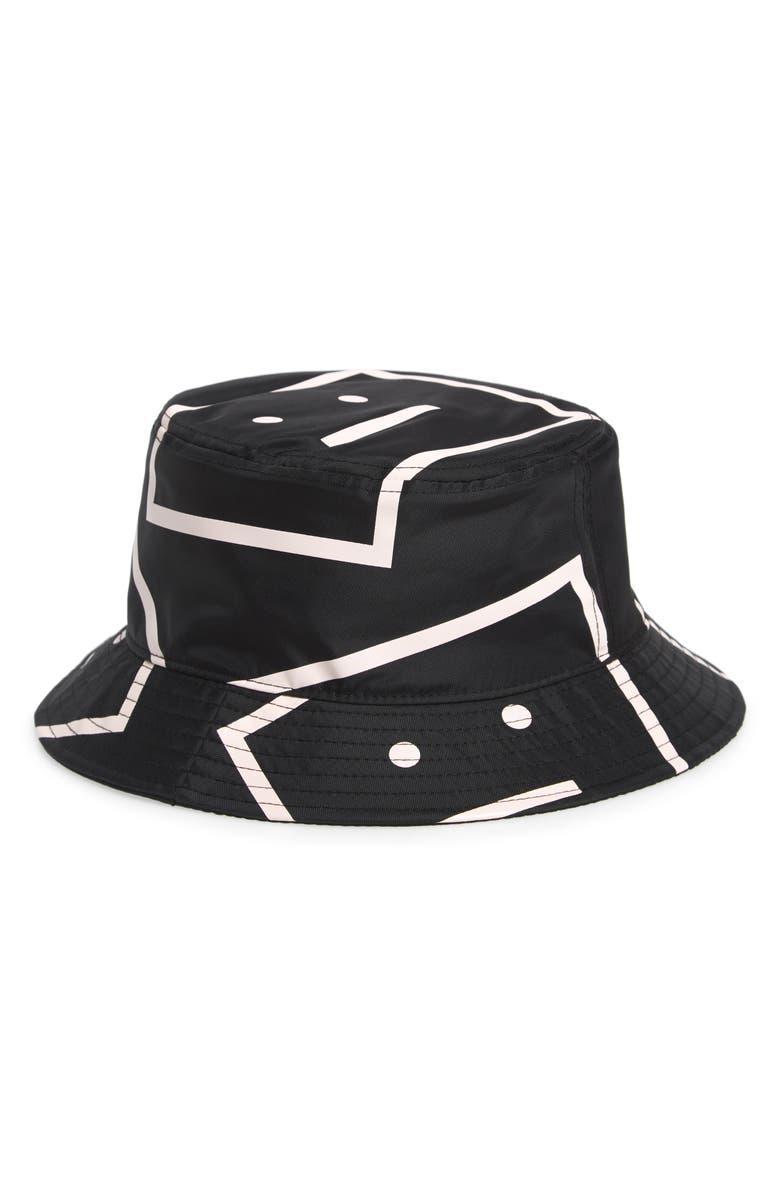 ACNE STUDIOS Acne Face Print Bucket Hat, Main, color, BLACK