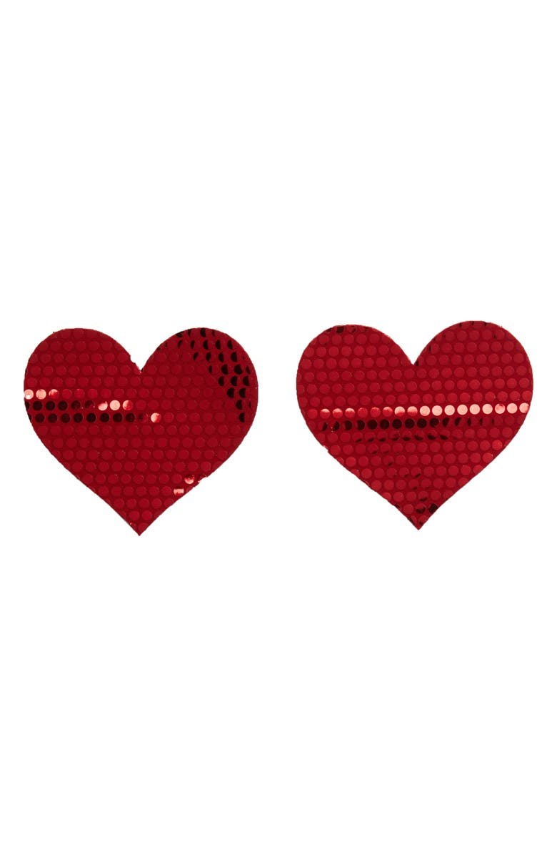 BRISTOLS 6 Nippies by Bristols Shiny Heart Nipple Covers, Main, color, 600