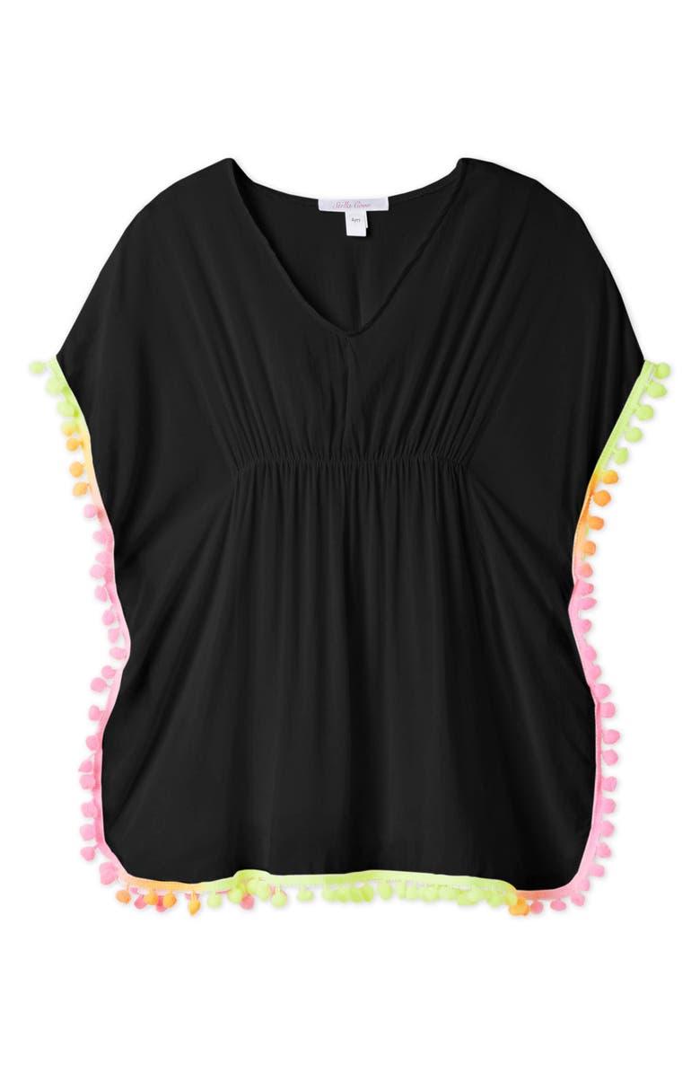STELLA COVE Neon Pompom Black Cover-Up Poncho, Main, color, 001