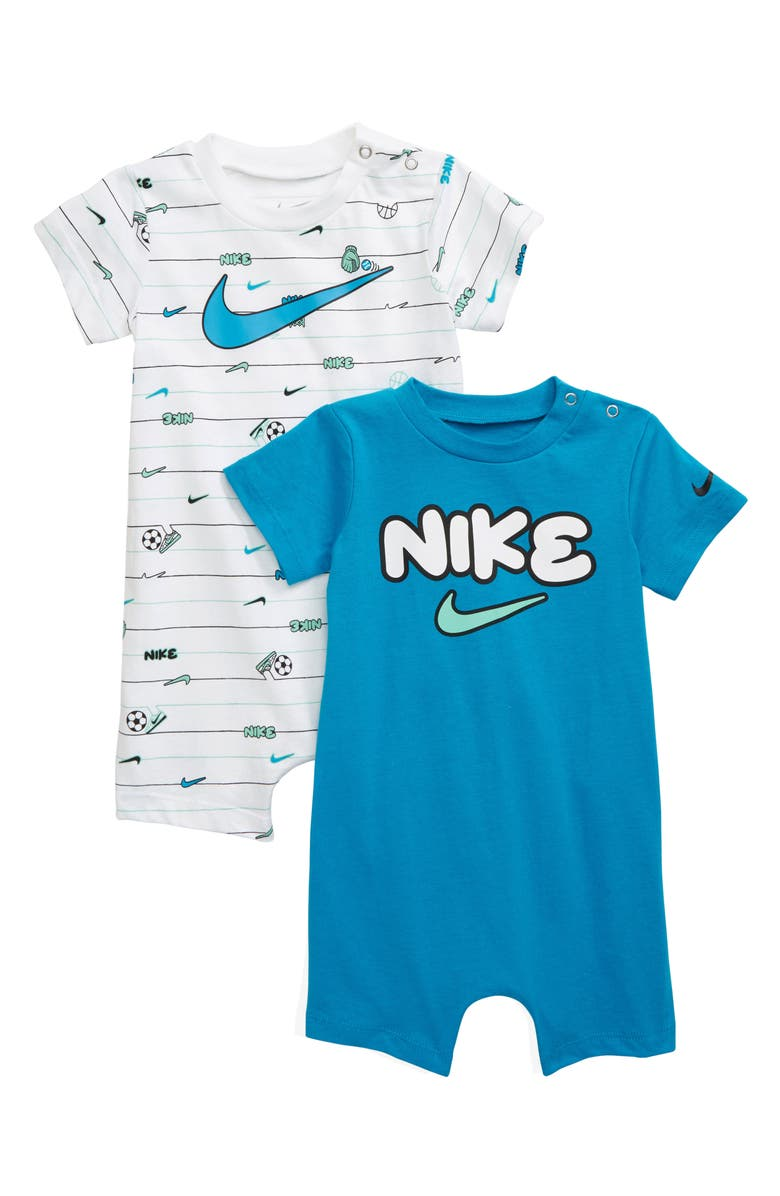 NIKE Sport Ball 2-Pack Rompers, Main, color, WHITE