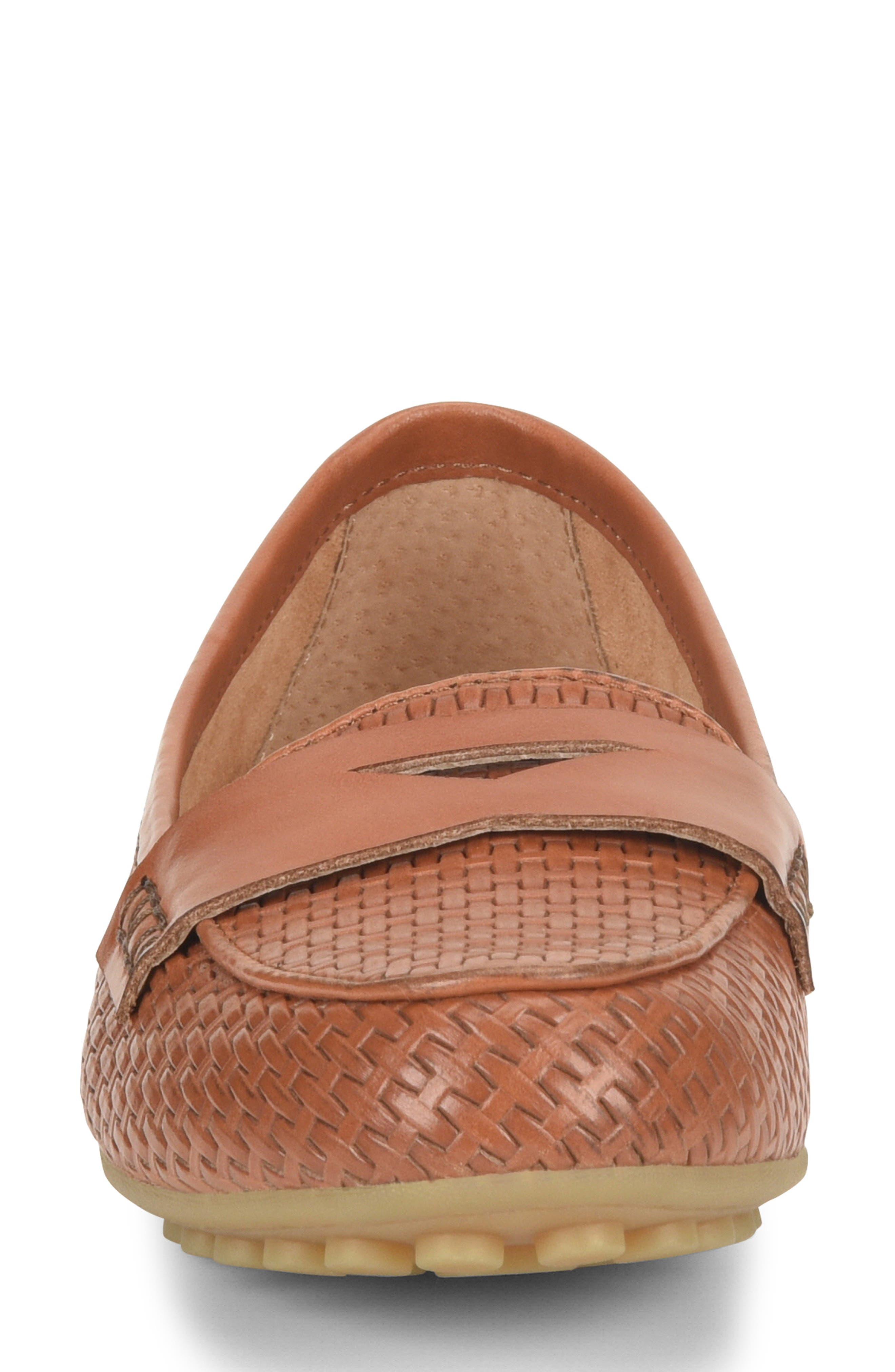 ,                             Malena Driving Loafer,                             Alternate thumbnail 4, color,                             BROWN WEAVE EMBOSSED LEATHER
