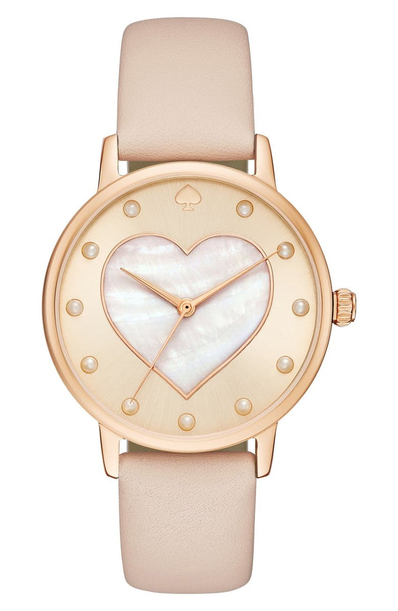 KATE SPADE NEW YORK metro mother-of-pearl heart watch, 34mm, Main, color, 200