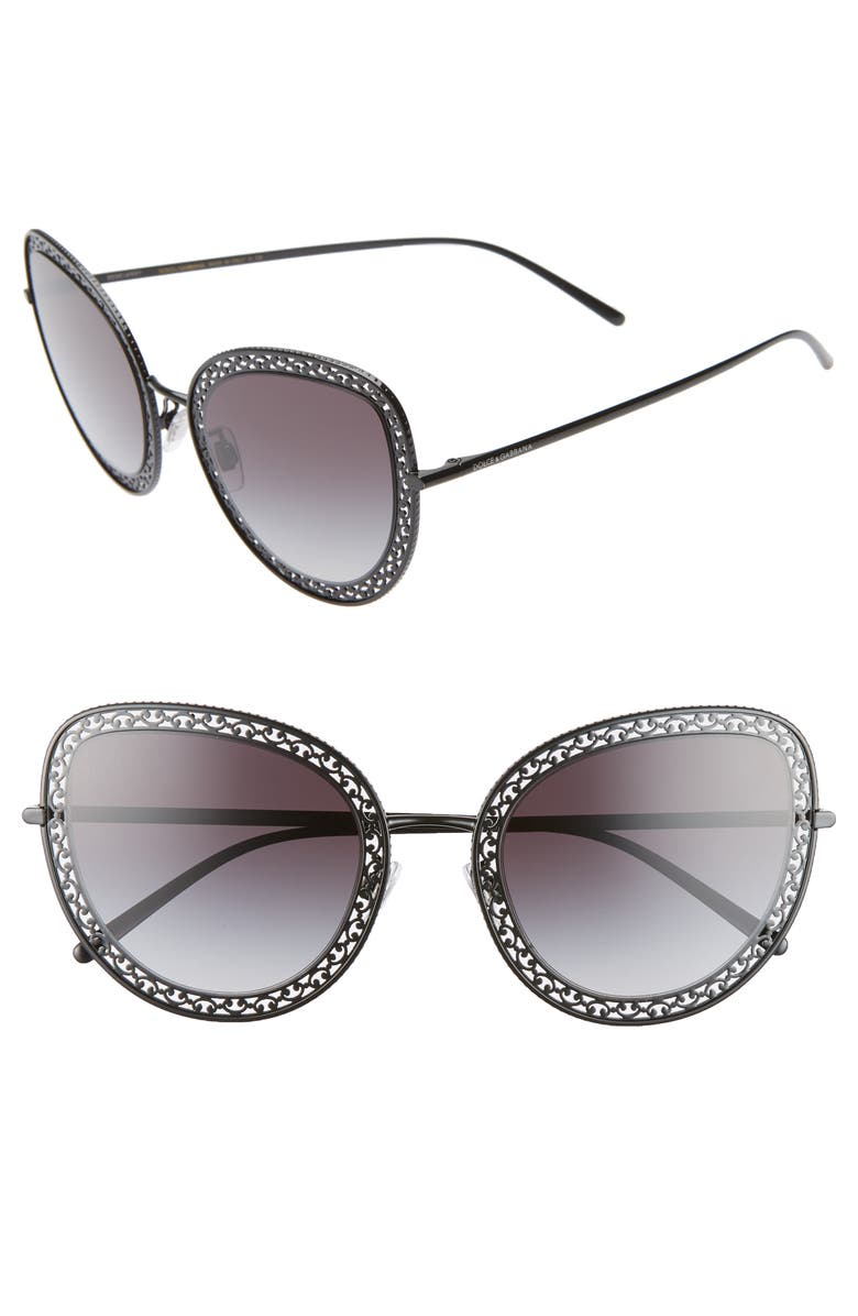 DOLCE&GABBANA 54mm Cat Eye Sunglasses, Main, color, BLACK