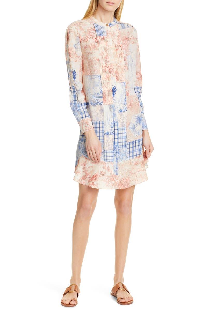 TORY BURCH Cora Long Sleeve Silk Shift Dress, Main, color, 400