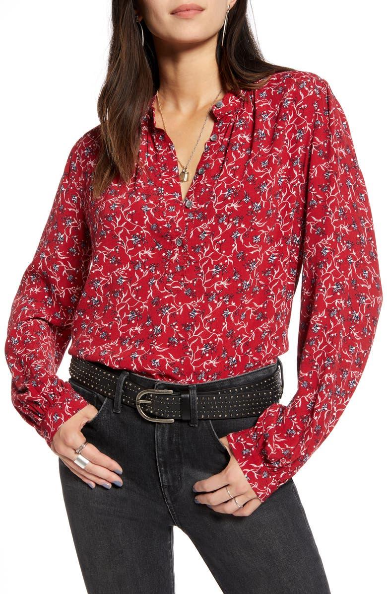 TREASURE & BOND Printed Front Button Top, Main, color, RED DAHLIA MINI VINE LILY