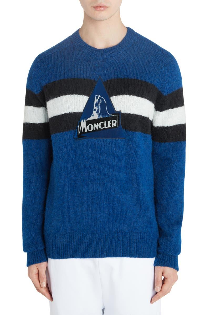 MONCLER Stripe Logo Sweater, Main, color, PASTEL BLUE