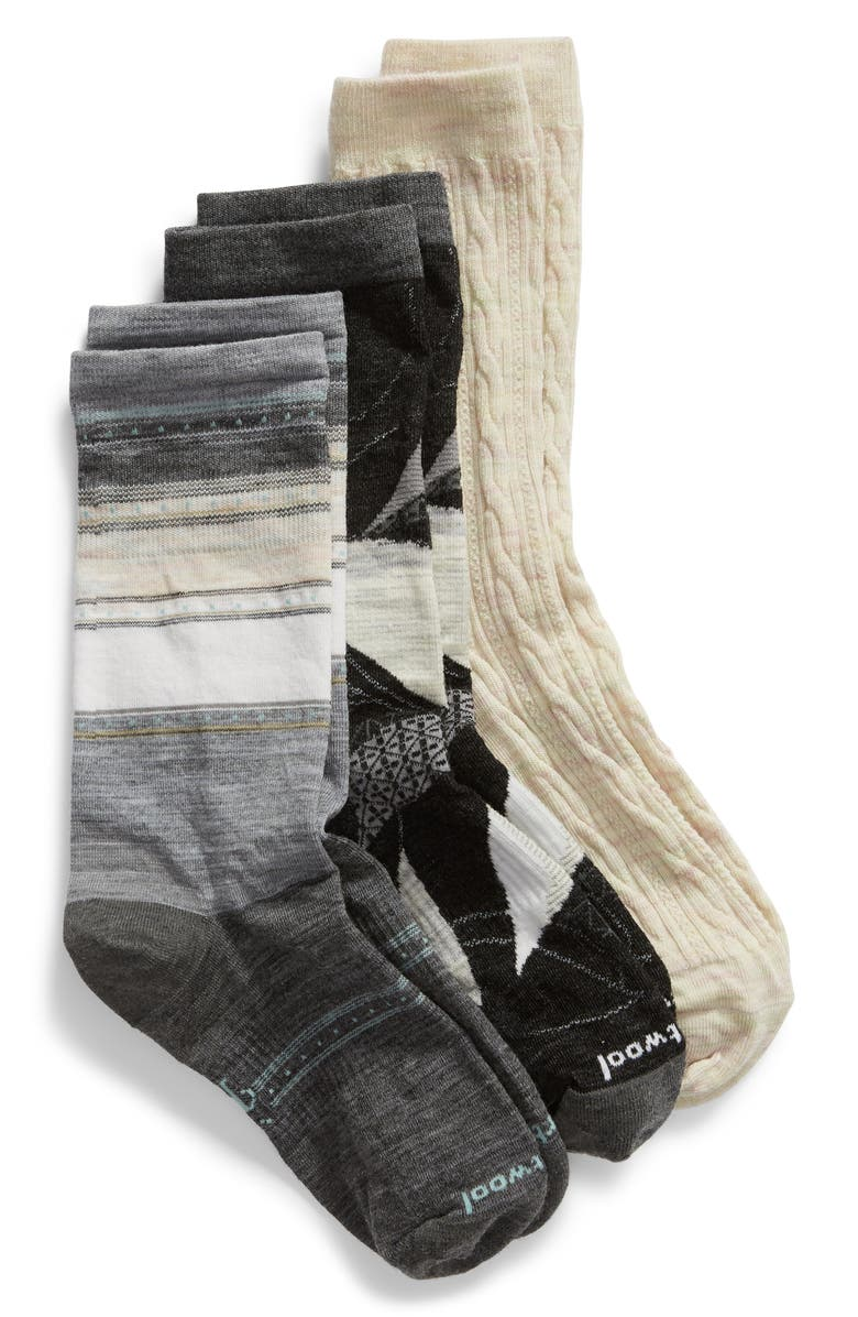 SMARTWOOL 3-Pack Crew Socks, Main, color, MULTI COLOR A