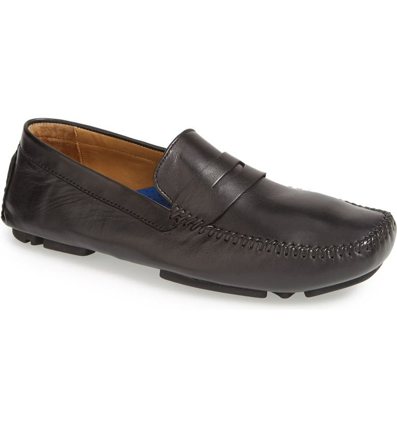 ROBERT ZUR 'Sven' Penny Loafer, Main, color, BLACK TGLOVE