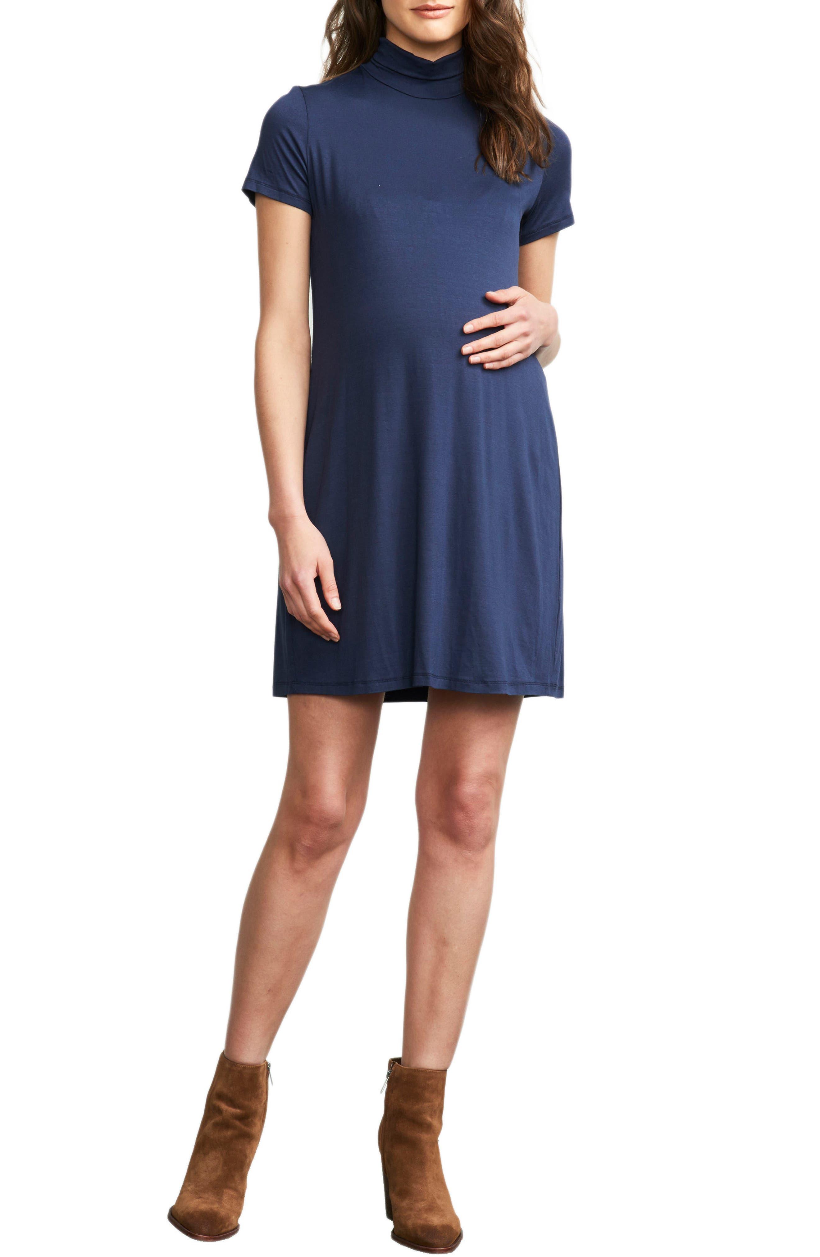 Maternal America Maternity Turtleneck Dress, Blue