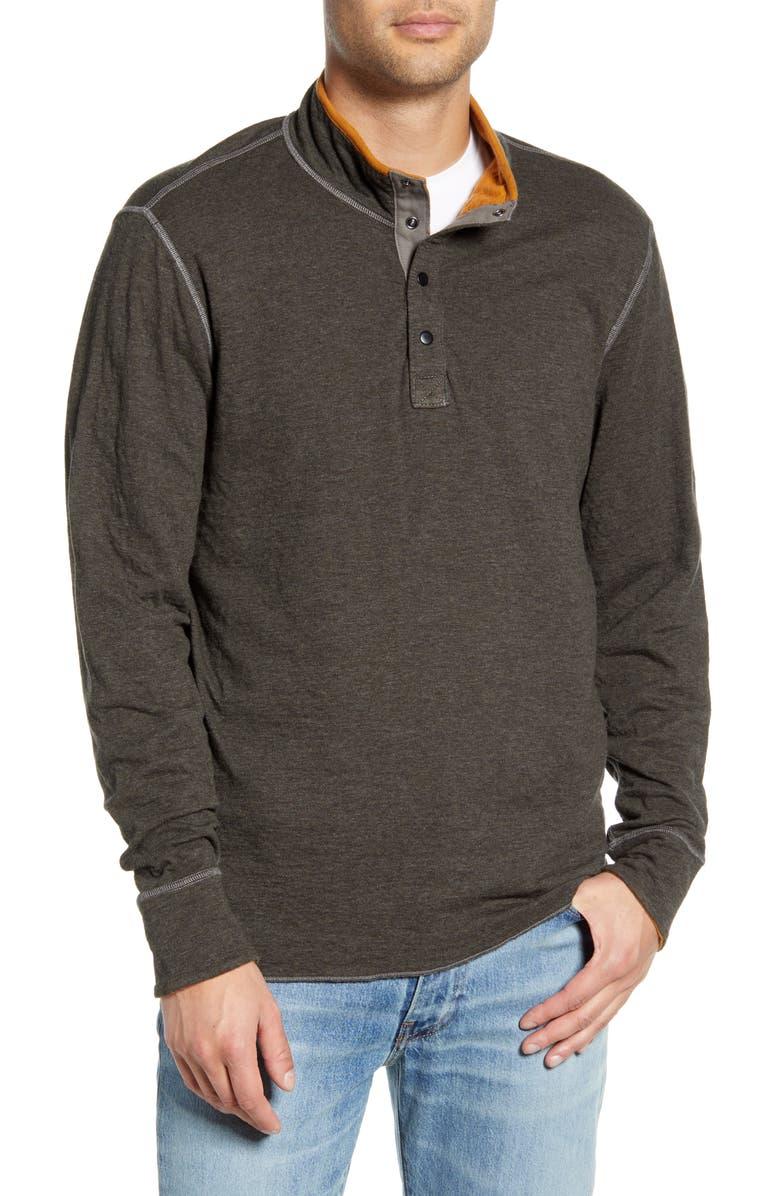 JEREMIAH Mitch Reversible Slubbed Quarter Snap Pullover, Main, color, COAL HEATHER