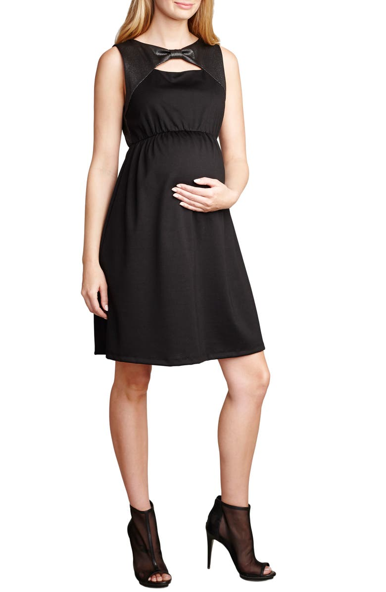MATERNAL AMERICA Bow Shift Dress, Main, color, BLACK/ LUREX