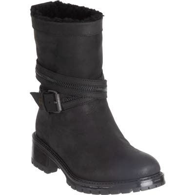 Ross & Snow Cristiana Genuine Shearling Lined Moto Boot, Black