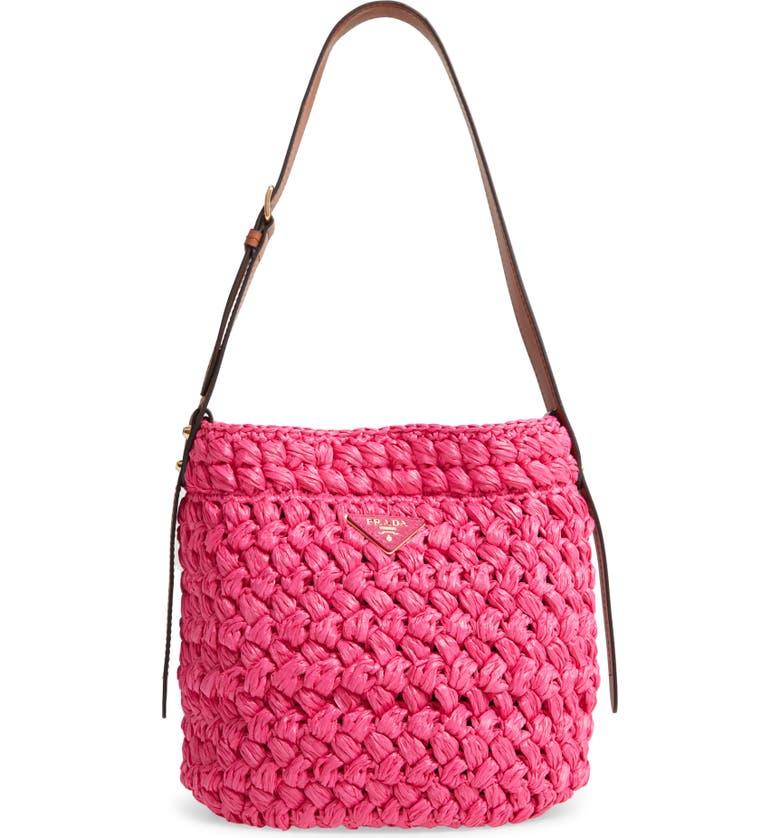 PRADA Medium Woven Raffia Shoulder Bag, Main, color, FUXIA/ COGNAC