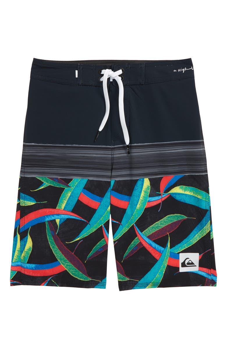 QUIKSILVER Highline Aussie Pop Board Shorts, Main, color, BLACK