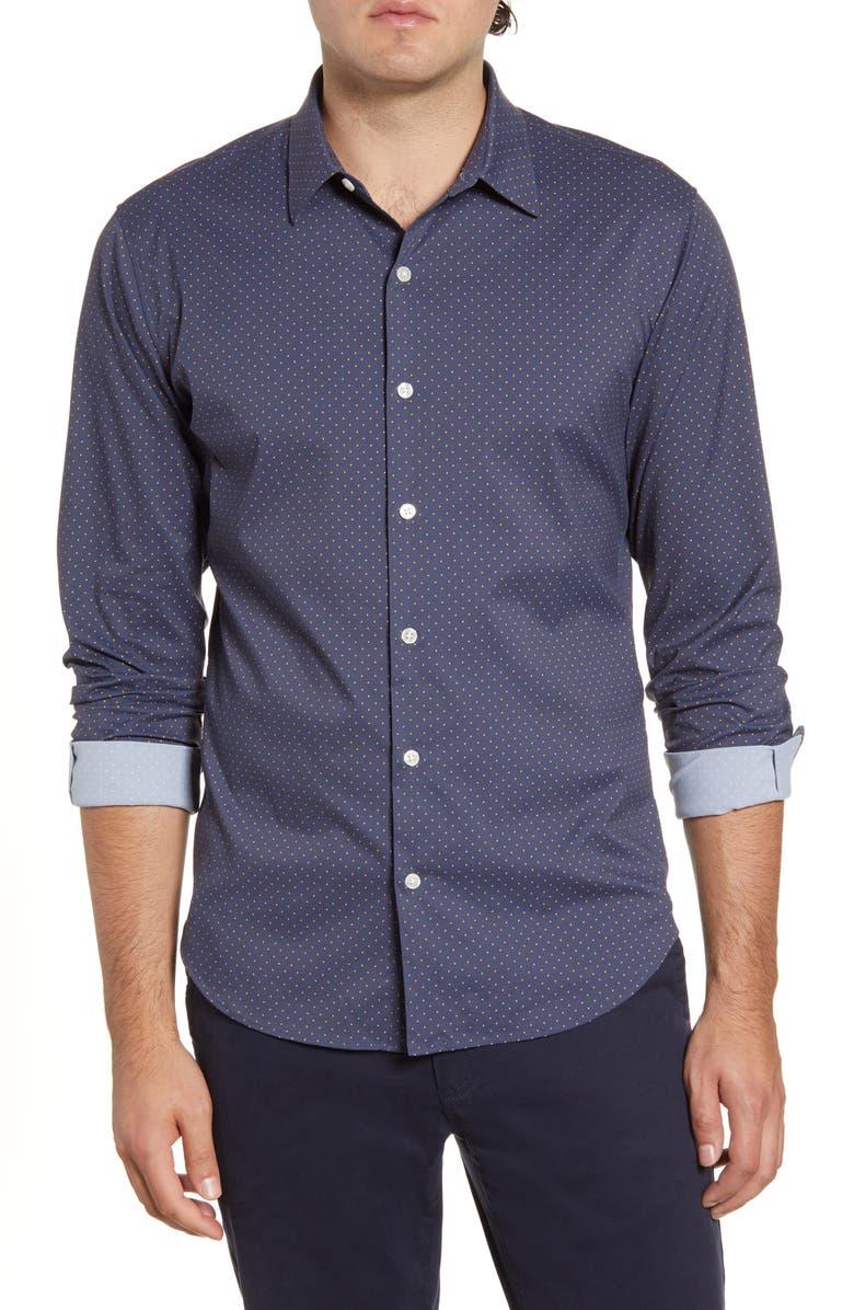 BONOBOS Slim Fit Dot Tech Button-Up Sport Shirt, Main, color, BIDDY DOT - NAVY