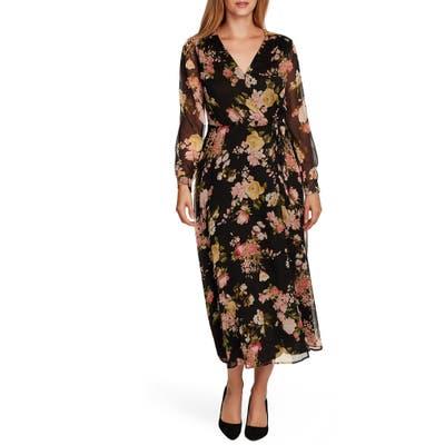 Vince Camuto Beautiful Blooms Long Sleeve Chiffon Dress, Black