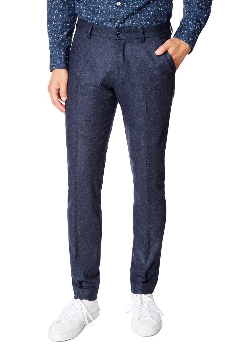 GOOD MAN BRAND Soho Flat Front Stretch Wool Blend Dress Pants, Main, color, NAVY