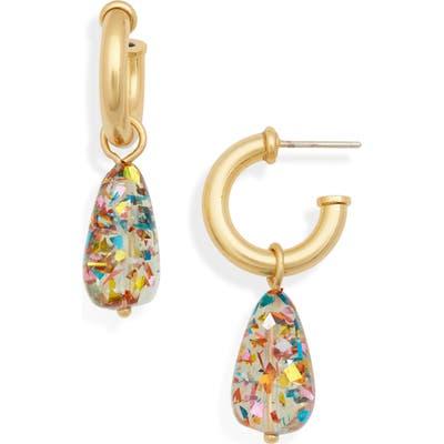 Madewell Glitter Drop Hoop Earrings