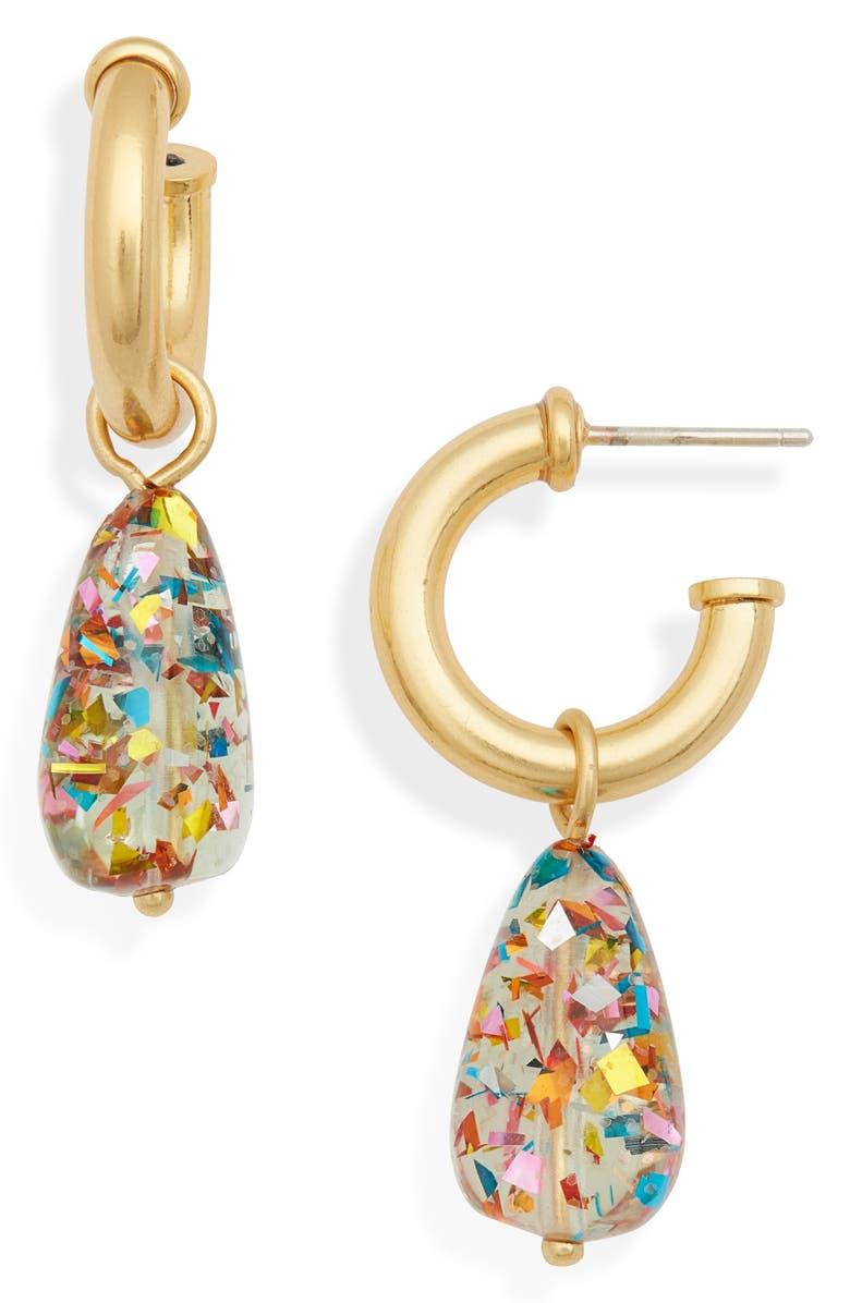 MADEWELL Glitter Drop Hoop Earrings, Main, color, CONFETTI MIX