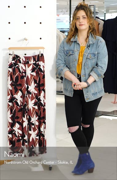 Floral Print Smocked Waist Wide Leg Pants, sales video thumbnail