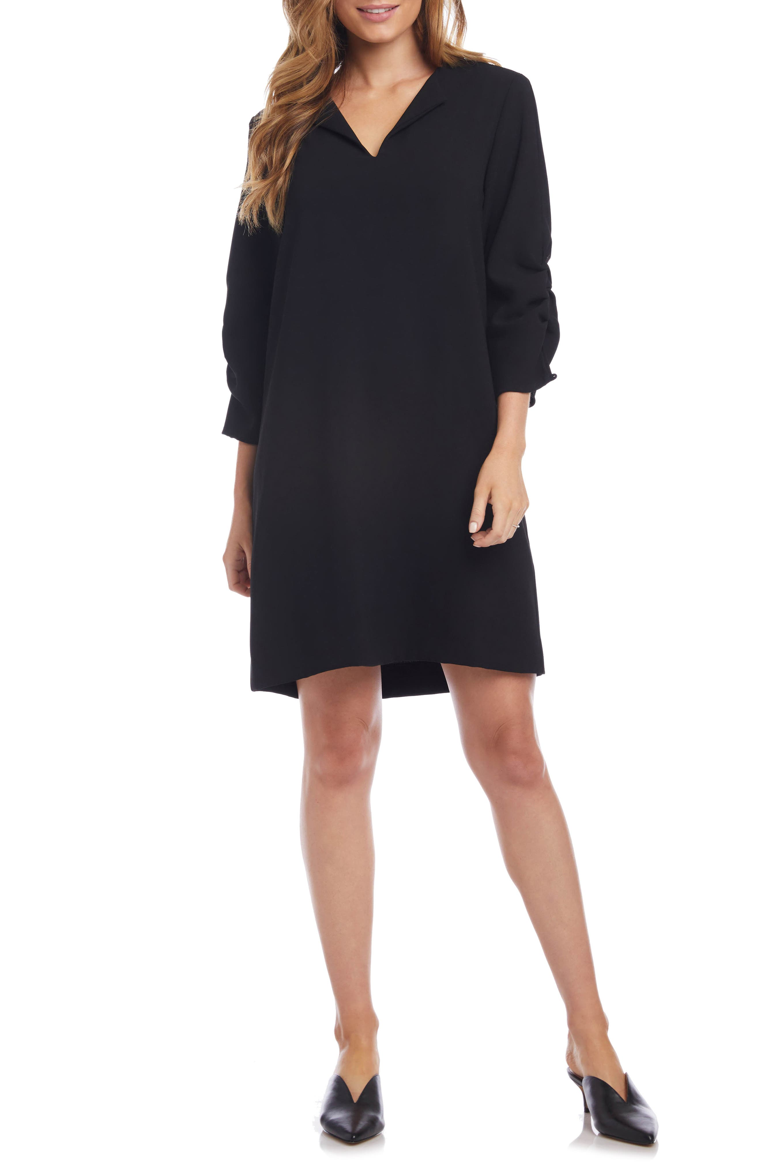 Image of Karen Kane Ruched Sleeve Shift Dress
