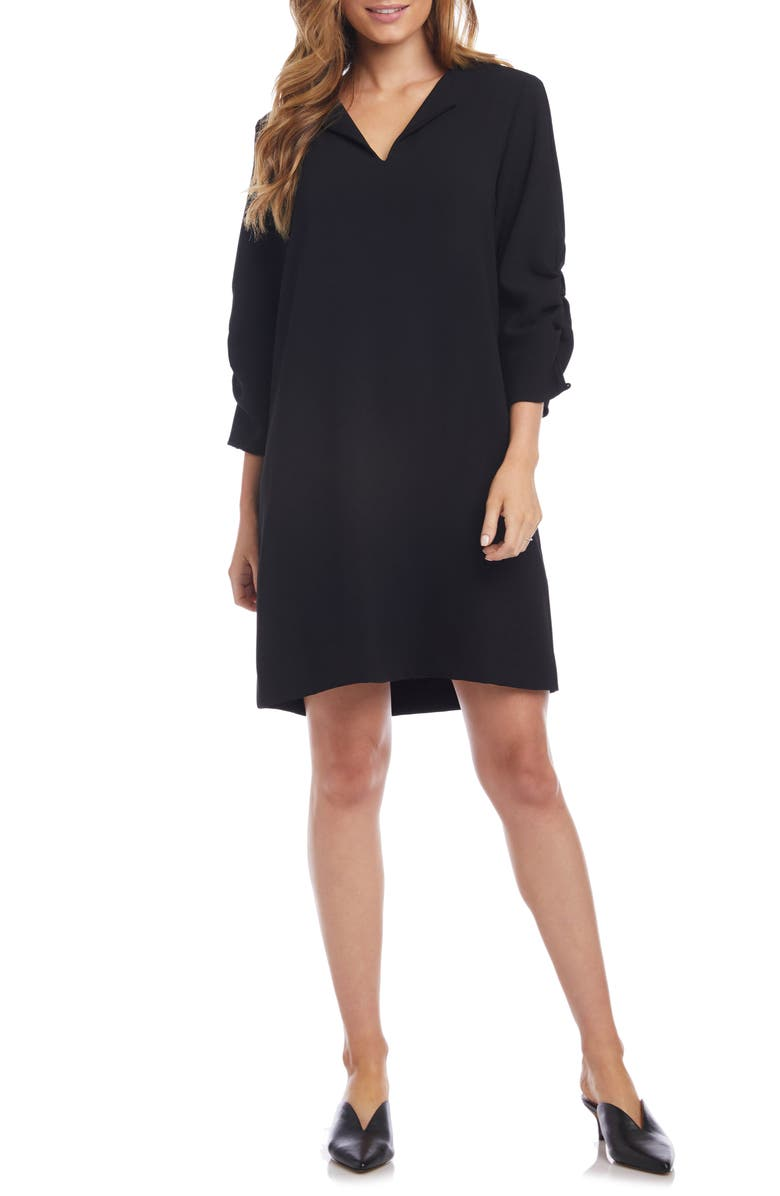 KAREN KANE Ruched Sleeve Shift Dress, Main, color, BLACK