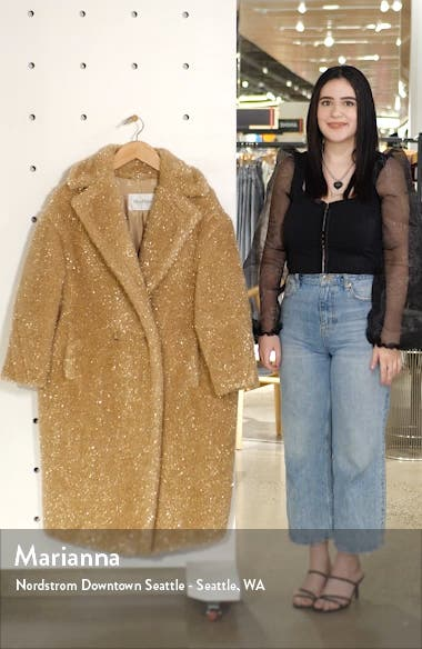 Park Metallic Faux Fur Teddy Bear Coat, sales video thumbnail
