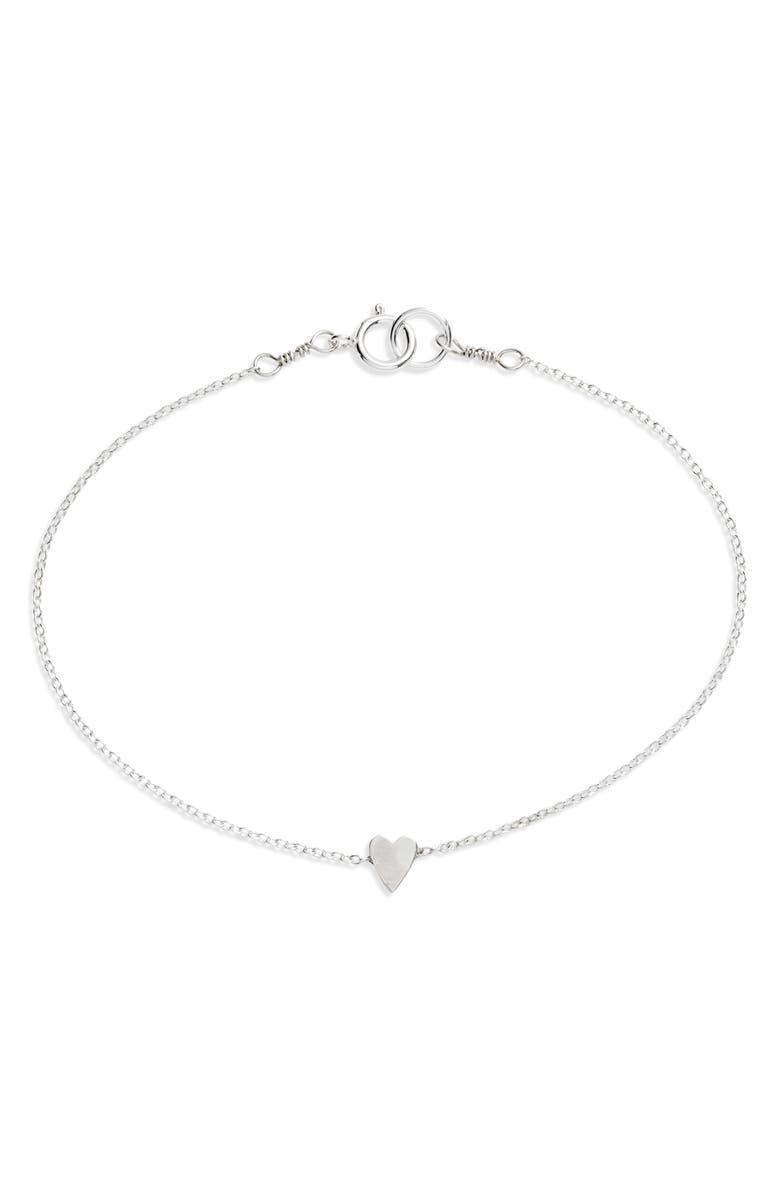 SET & STONES Hayden Heart Station Bracelet, Main, color, SILVER