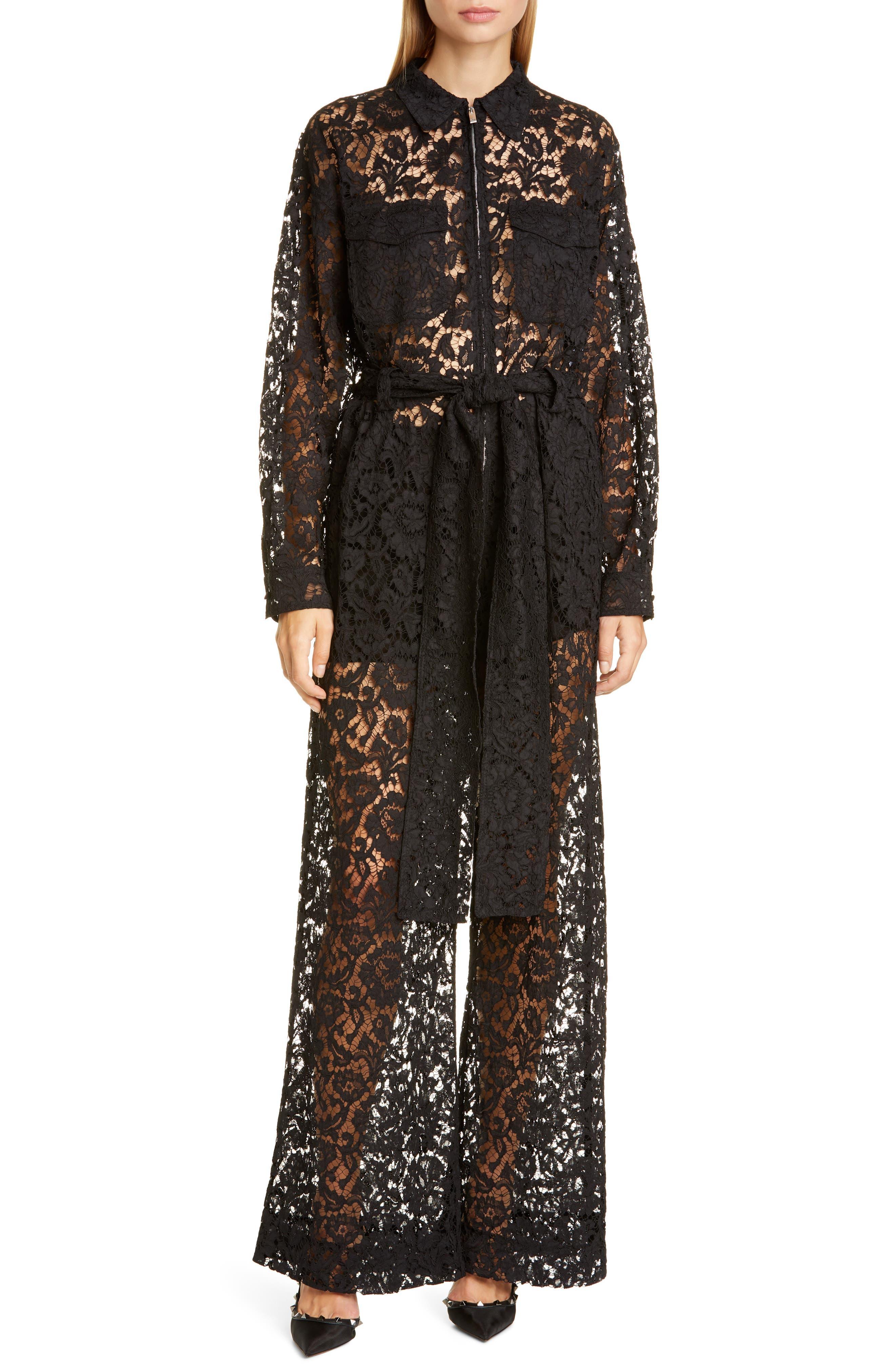 Valentino Suits Zip Front Lace Jumpsuit