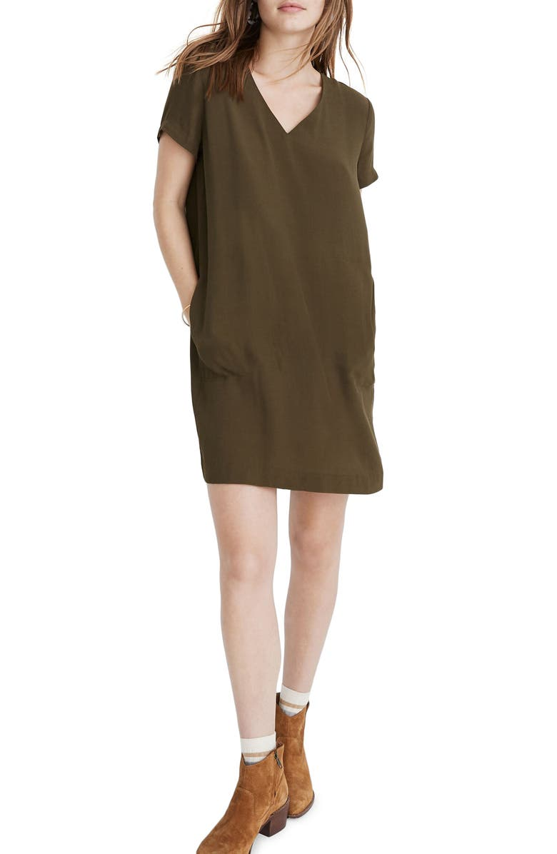 MADEWELL Button Back Easy Dress, Main, color, KALE