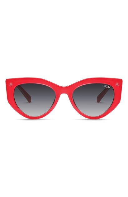 Quay Women's Persuasive Cat Eye Sunglasses, 48mm In Red / Smoke