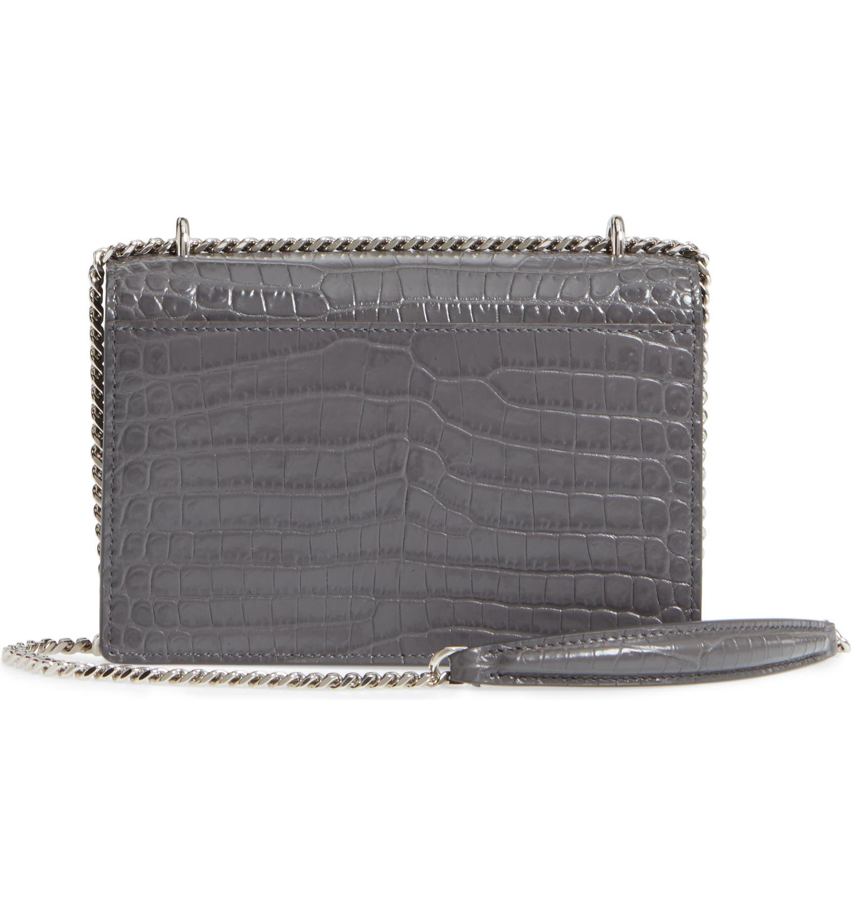 df8f6f0c6a0 Saint Laurent Mini Monogram Sunset Croc Embossed Leather Shoulder Bag |  Nordstrom