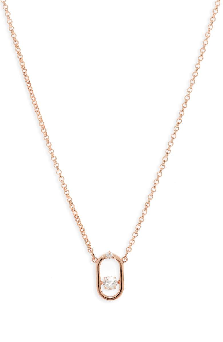 SWAROVSKI North Crystal Dance Necklace, Main, color, WHITE