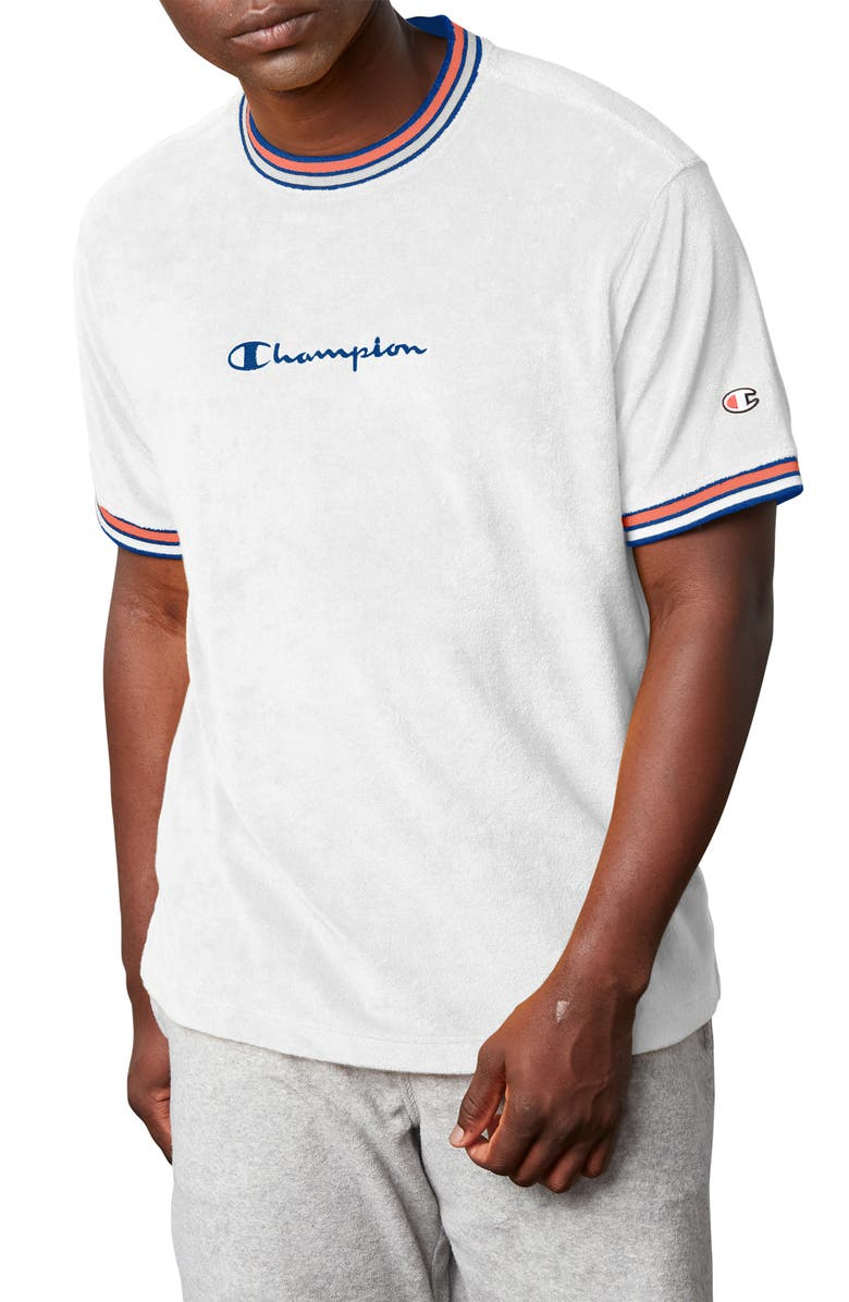 CHAMPION Terry Knit T-Shirt, Main, color, WHITE