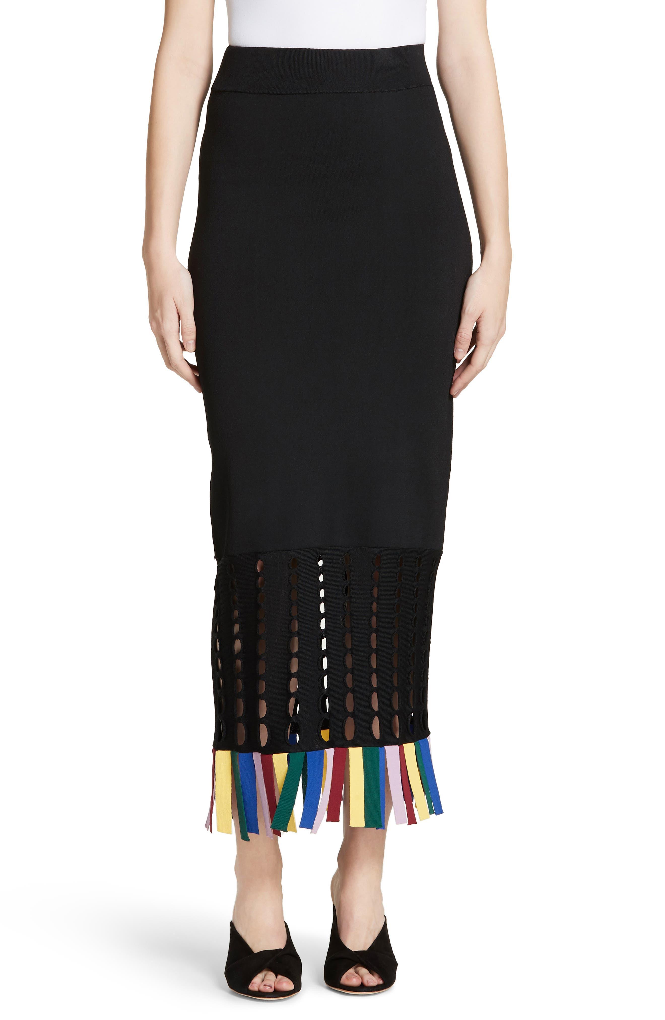 Staud Garage Rainbow Fringe Maxi Skirt