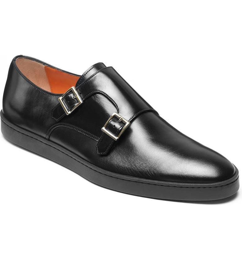 SANTONI Fremont Double Monk Strap Shoe, Main, color, BLACK LEATHER