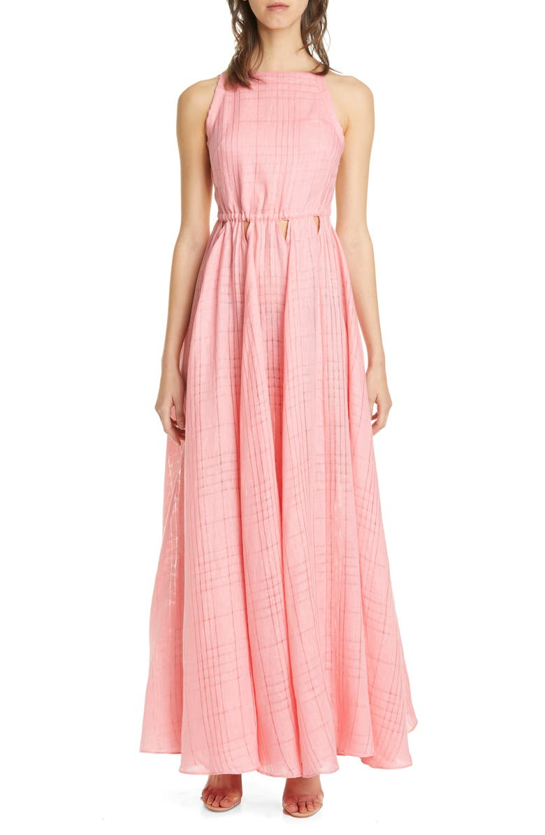 CULT GAIA Bella Cutout Linen Maxi Dress, Main, color, PNK PINK