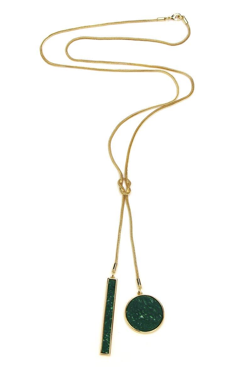 BEN-AMUN Malachite Long Y-Necklace, Main, color, 710