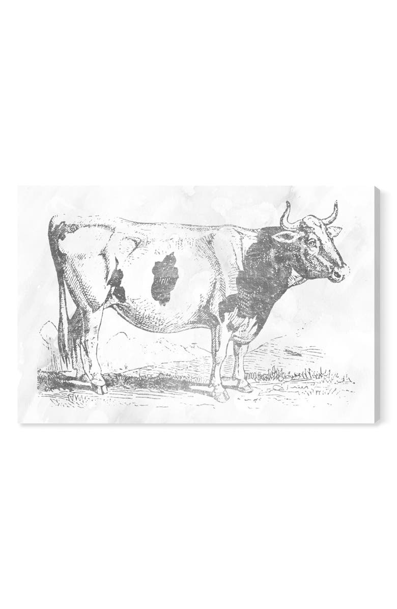 OLIVER GAL Silver Cow Canvas Wall Art, Main, color, WHITE