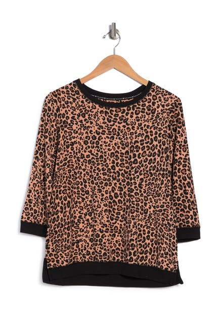 Image of LAYLA Leopard Print 3/4 Sleeve Pajama Top