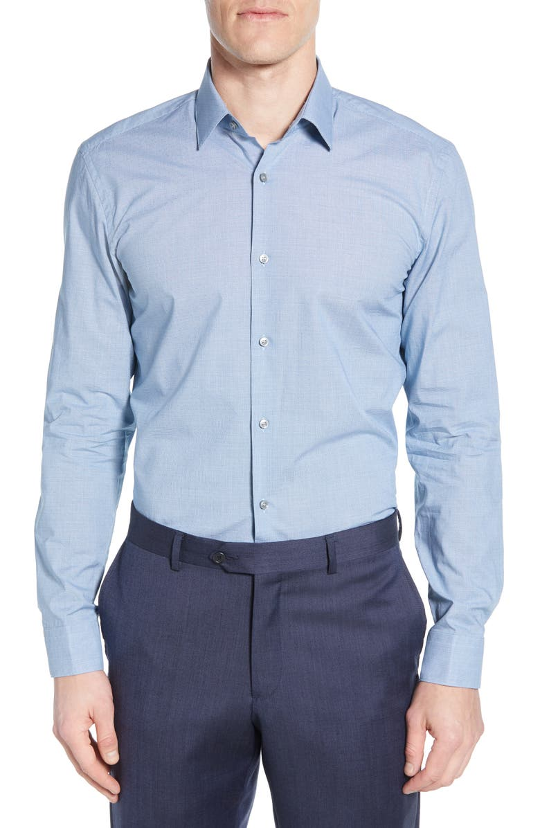 BOSS Slim Fit Solid Dress Shirt, Main, color, TEAL