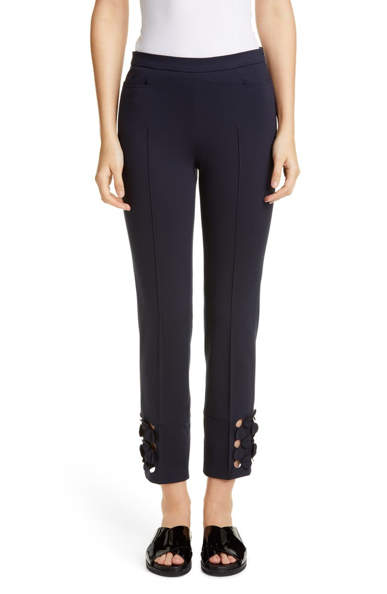 AKRIS PUNTO Dot Appliqué Crop Ponte Pants, Main, color, 400