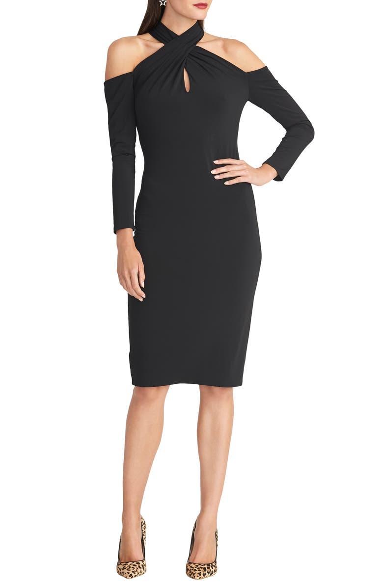 RACHEL RACHEL ROY Simone Long Sleeve Twist Neck Cold Shoulder Jersey Dress, Main, color, BLACK